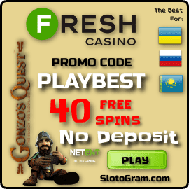 Promocode PLAYBEST 40 free spins in Fresh Casino for Slotogram.com is on photo.