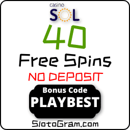 SOL casino bonus code to get 40 spins no deposit for Registration is in the photo.