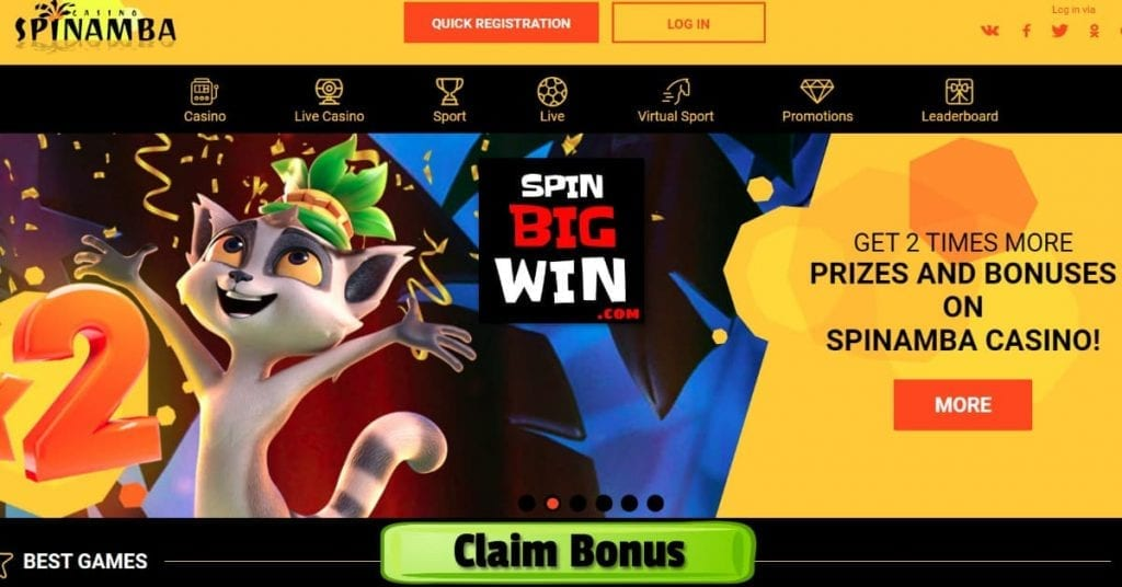 Prizes and Bonuses in Spinamba Casino for SpinBigwin.com is on photo.