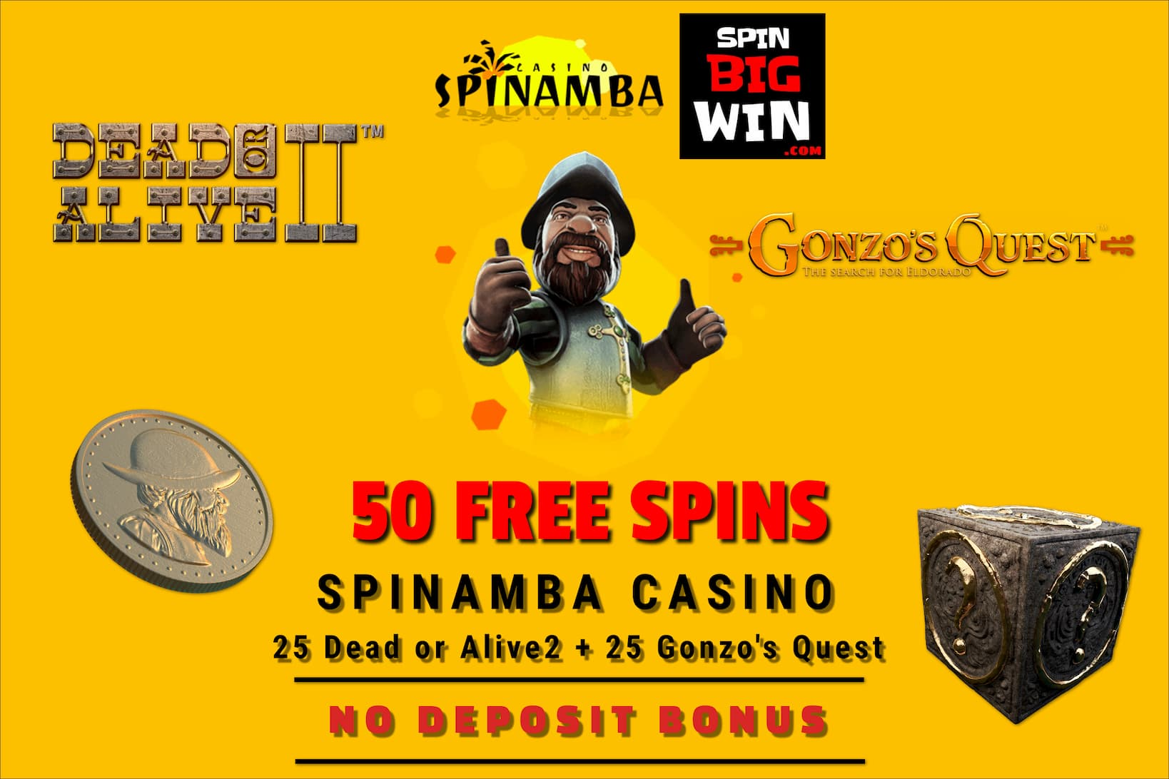 Spinamba Casino Review No Deposit Bonus (50 Free Spins) is in this photo!