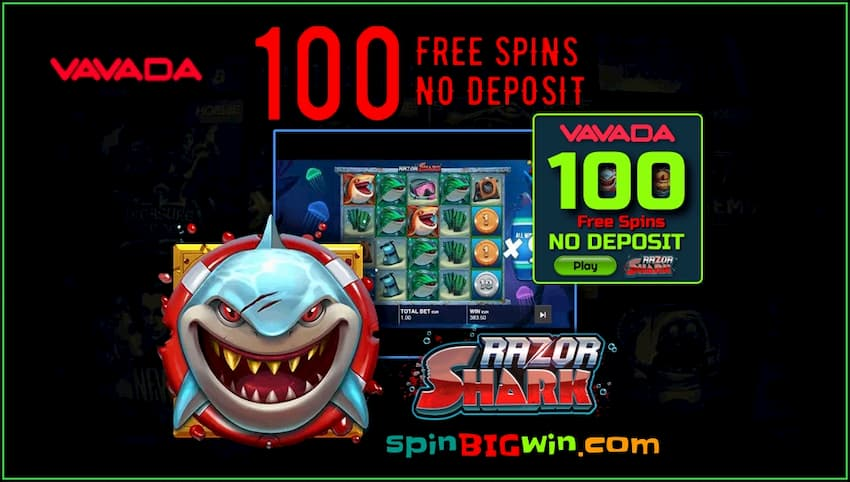 100 Spins for registration without a deposit in RAZOR SHARK slot on spinBIGwin are in the photo.