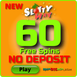 60 Free Spins in the new SlottyWay Casino are in this image.