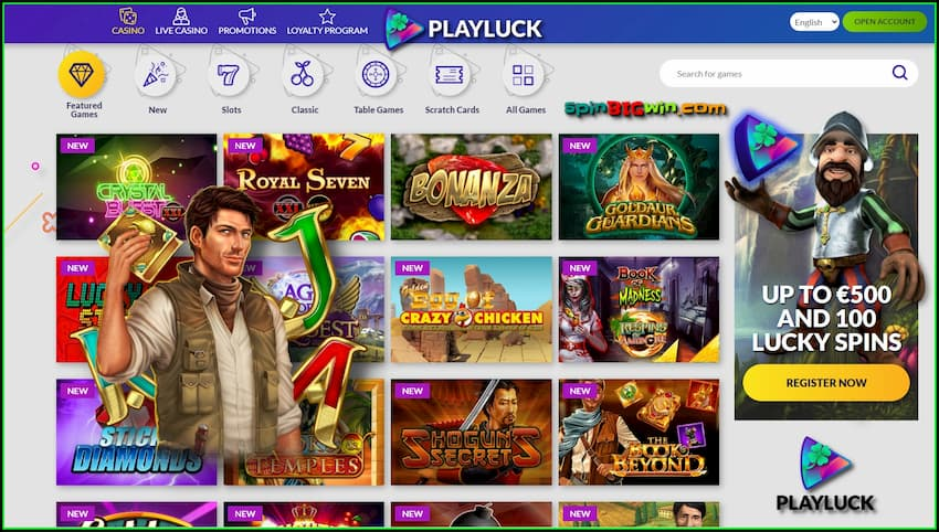 A large selection of slot machines and providers at PlayLuck Casino are on the photo.