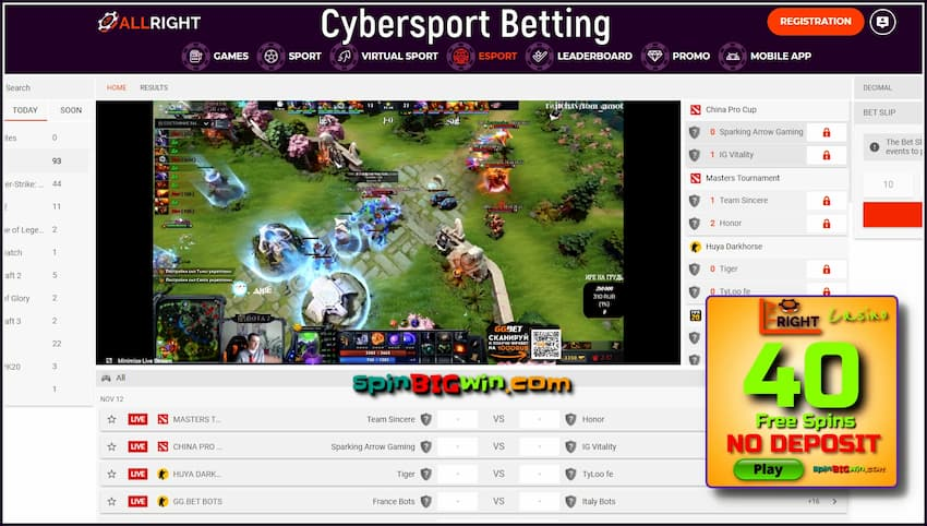 All Right Casino Cybersport Betting is i this image.