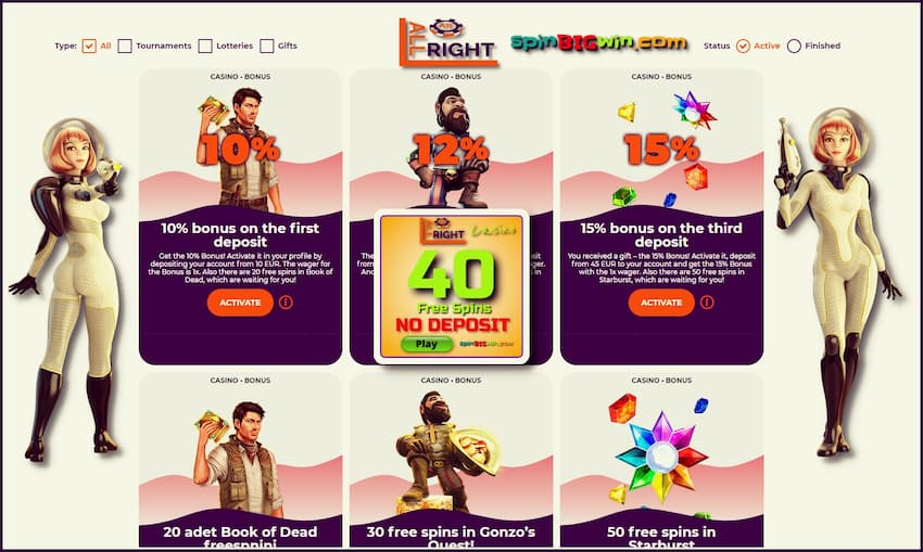 All Right Casino (Review) - 40 Free Spins No Deposit Bonus is on this image.