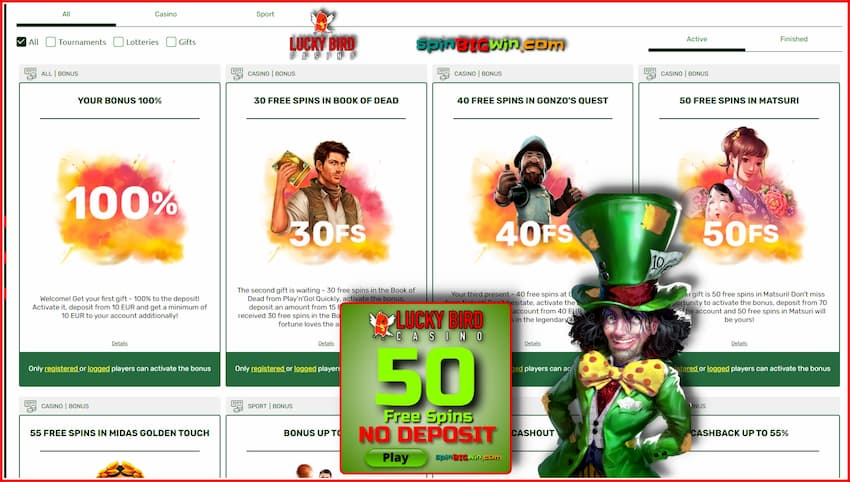 Bonuses and special offers for players at LuckyBird casino is in this image.