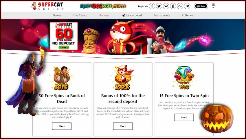 Deposit bonuses and free spins no deposit are in the photo.