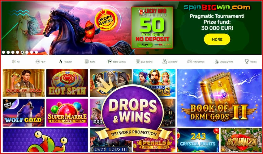 Drop & Wins promotion from Pragmatic Play provider at Lucky Bird casino is in the photo.
