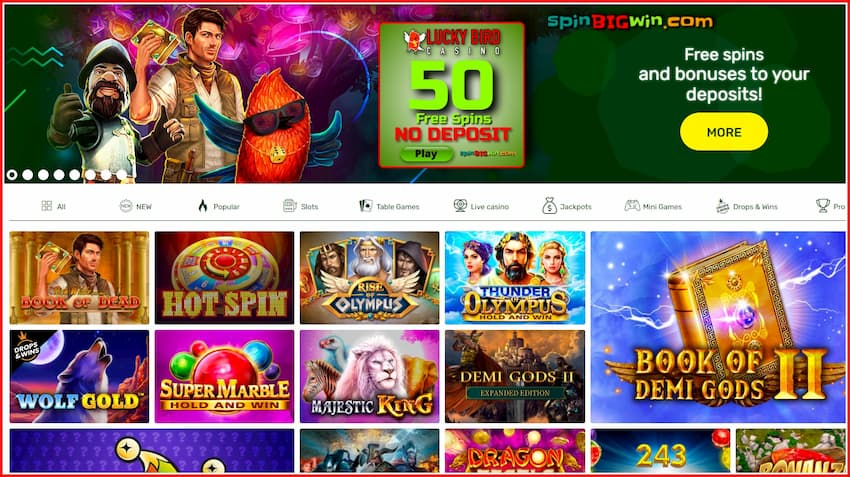 Free Spins and Deposit Bonuses at LuckyBird Casino are in this image.