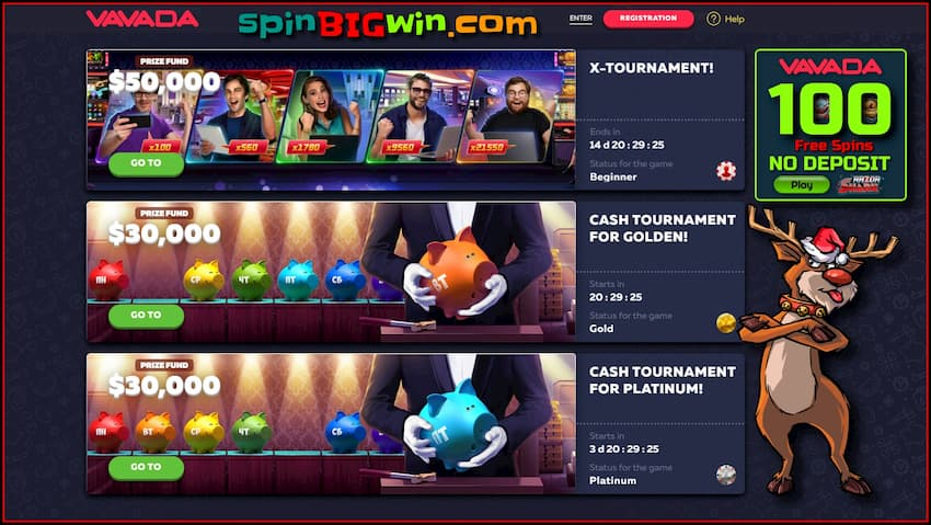 Free tournaments with real cash prizes at VAVADA casino are in the photo.