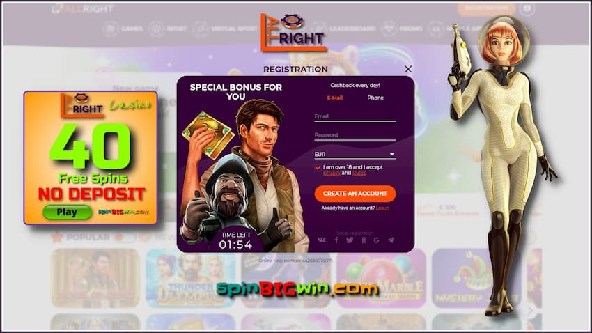 Registration and no deposit bonus at All Right casino are in this image.