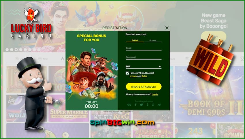 Registration and no deposit bonus at Lucky Bird casino are in this photo.