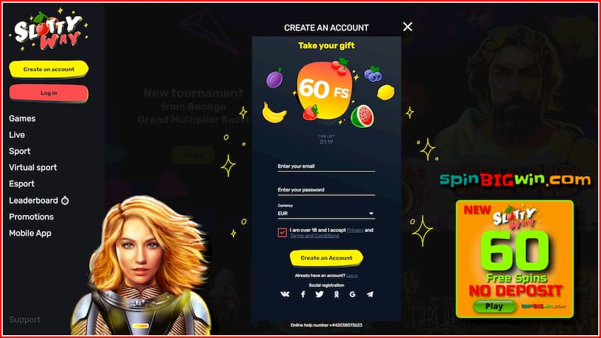 Registration at SlottyWay casino and 60 spins no deposit for new players is in this photo.