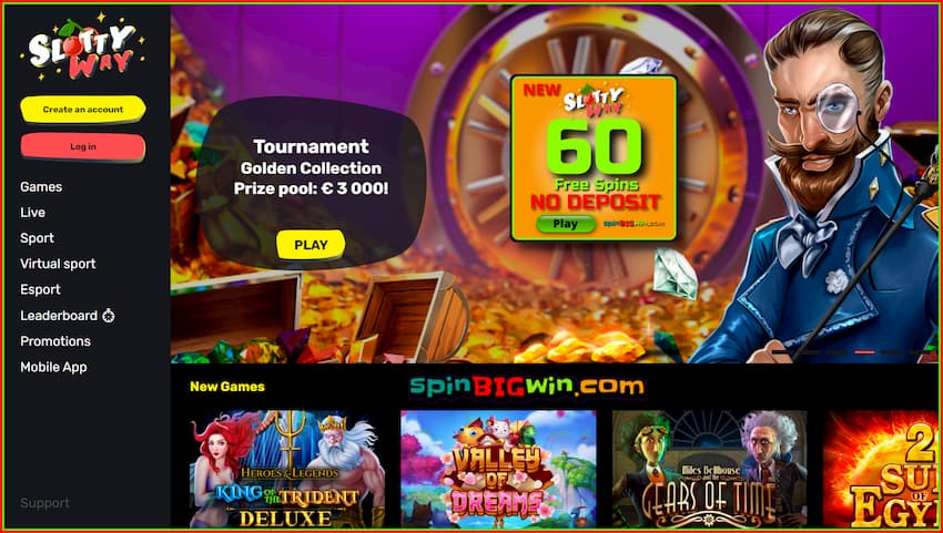 SlottyWay Casino (New 2020) 60 Free Spins No Deposit is in photo.