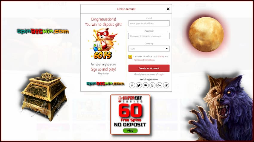 Super Cat Casino Registration and Free Spins No Deposit! is in the photo.