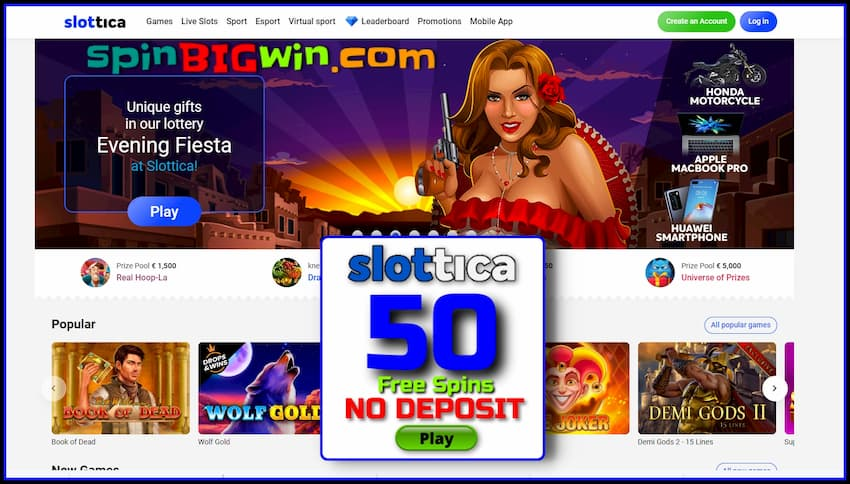 Super prizes and gifts in a unique lottery at Slottica casino are in the photo.