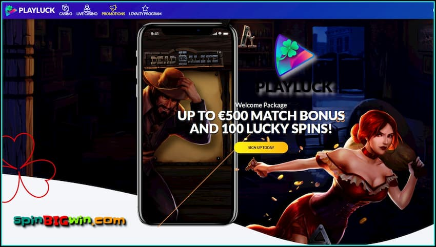 Up to €500 bonus and 100 lucky spins in PLAYLUCK Mobile Casino are on the photo.