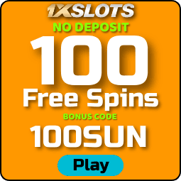 100 Free Spins No Deposit at 1xSlots Casino on Book of Sun Multichance are in the photo.