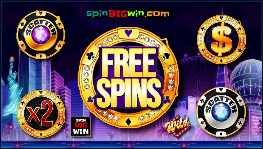 Free Spins and Scatter symbol in the online casino slot machine bonus game for the spinBIGwin site are in this image.