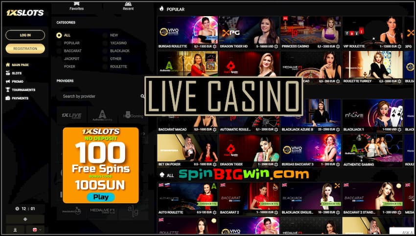 Live Casino with real dealers 1xSLOTS is in the photo.