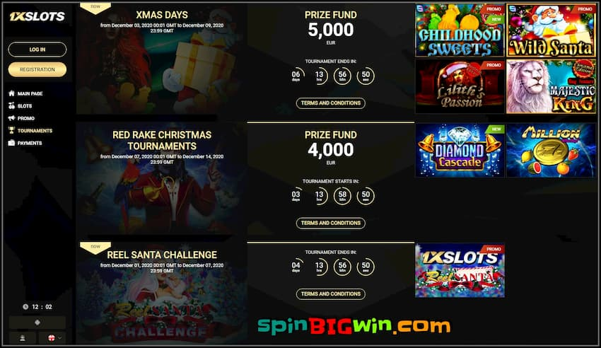 New Year Tournaments at 1x Slots Casino are in the photo.