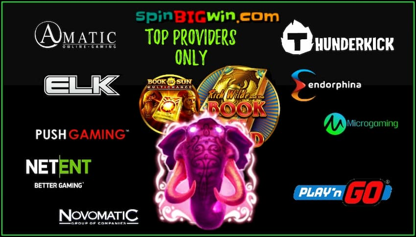 Only the world's top slot providers on spinBIGwin are in this photo.