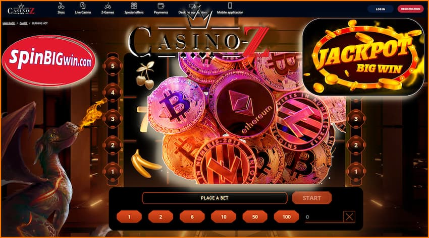 Cryptocurrency in Cazino-Z pictured.