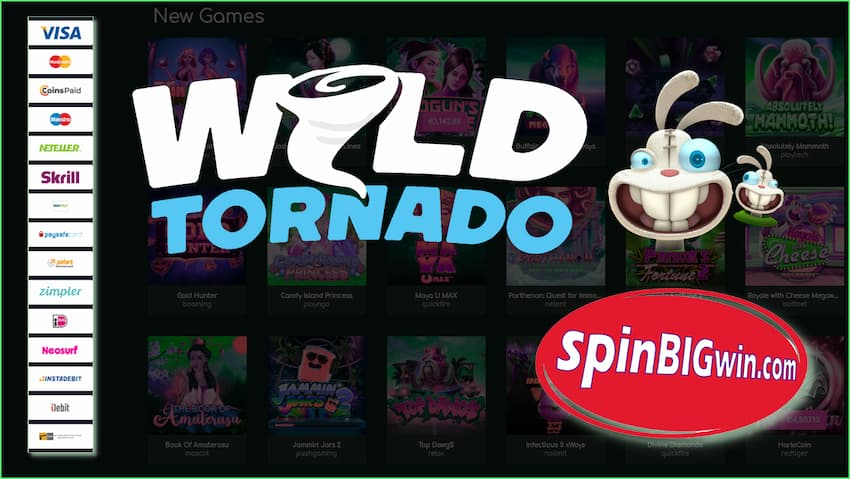 Wild Tornado Casino (2021) $1500 Bonus and Instant Payouts are in this photo.